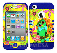 KoolKase Hybrid Silicone Cover Case for Apple iPhone 4 4S - Owls Flower 05
