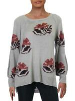 Willow & Clay Womens Size Small Floral Intarsia Sweater Gray NEW