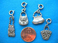 Set of 4 Dollhouse Miniature Pewter Charms of Beautifully Detailed Asst. Purses