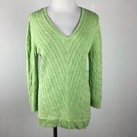 LRL Ralph Lauren L Large Sweater Green Cableknit V Neck 3/4 Sleeve Silk Blend