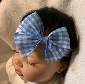Blue & White Gingham Dainty Hair Bow Headband so Cute 4 Dorothy Wizard of OZ