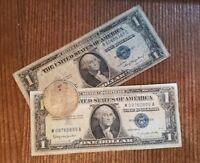 1935 & 1957 Blue Seal Silver Certificate & 1921 SILVER MORGAN DOLLAR 90% SILVER