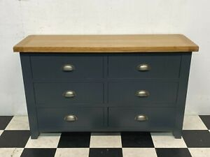 Hampshire blue painted oak topped 6 drawer chest of drawers sideboard - Delivery