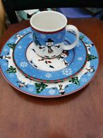 8 sets x 3-- Dinner/Salad/ MUG Sakura Debbie Mumm Snowman Christmas excellent!