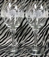 2 Lynn's China PINES Crystal Wine/Water Goblets w/Gold Rim,Trees Snow 7 & 3/4 in