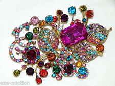 Gold With Multicolor Rhinestone Crystal Pendant, Brooch