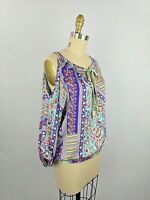 Umgee Women's Top Size Small Cold Shoulder Purple Blue Paisley