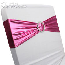 50pcs Lycra Spandex Stretch Wedding Chair Cover Bands Sashes With Plastic Buckle