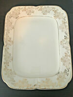 The Edwin M. Knowles China Co. Shallow Rectangular Tray & 22K Gold Trim