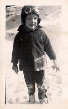 Squinting Sun In Her Eyes IDd Girl Patton In Snow Steampunk Goggles 1942 Photo