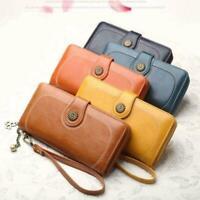 Frauen Clutch Leder Brieftasche Lange Brieftasche Reißverschluss Geldbörse- H5K8