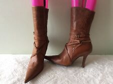 DUNE real leather chestnut brown spur detail zip up stiletto ankle boot size5/38