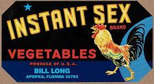 INSTANT SEX 1960's Vegetable Crate Label - Apopka FLorida