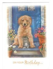 GOLDEN RETRIEVER DOG & CAT Birthday Birthday Greeting Card w/ Envelope G7