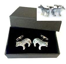 Wolf Cufflinks Grey Howl Full Moon Werewolf Vampire Present Christmas Gift Boxed