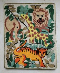 Mid Century Modern Lion Giraffe Wall Hanging Evelyn ACKERMAN GIRARD FREEDMAN Era