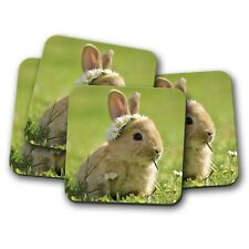 4 Set - Cute Baby Bunny Coaster - Rabbit Daisy Flower Animal Bunnies Gift #15575