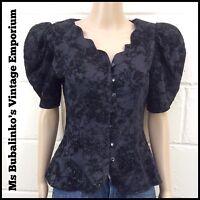 Vintage 80s Boho Party Black Glitter Flocked Velvet Jacket Blouse Top 8