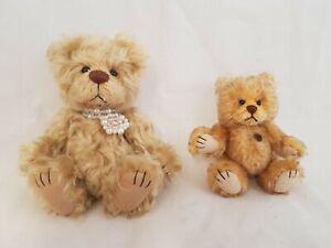 """2x Hermann Teddy Original Teddy Bears: 1x 5.25"""" high Mohair, 1x 3.5"""" Miniature"""