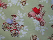 VESPA SCOOTERS RETRO BICYCLES GREEN COTTON FABRIC FQ