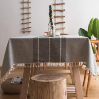 Stitching Tassel Cotton Linen Fabric Tablecloth for Kitchen Dinning Table Cover