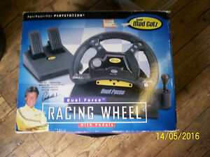 MAD CATZ DUAL FORCE RACING WHEEL & PEDALS FOR PLAYSTATION