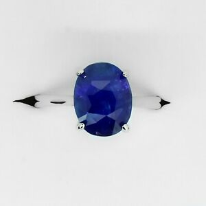 5.53 Carats Ceylon Blue Sapphire Ring in White Gold