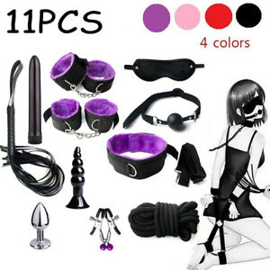 11PCS Adults Bandage SM Sex Toys Handcuffs Strap Whip Rope Kit For Couples Fun