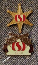 Calgary Stampede Lot of 2 Pins~1990~Sponsor Safeway~Cowboy~Guns~Sheriff Star