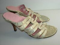 WOMENS TAN BEIGE SILVER LEATHER SLIDES SANDALS CAREER HEELS SHOES SIZE 7.5 M