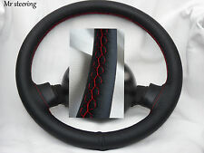 FOR PEUGEOT 505 1979-92 BLACK ITALIAN LEATHER STEERING WHEEL COVER RED STITCHING