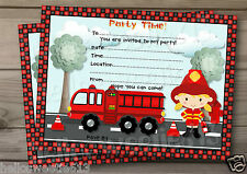 1-10 LITTLE FIREMAN FIREGIRL PARTY INVITATIONS OR THANK YOU CARD, BIRTHDAY CARD