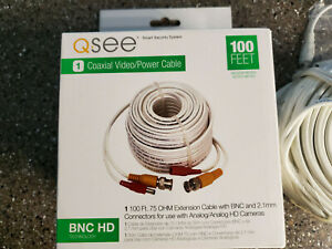 QSEE QS100B 100FT BNC HD Coaxial Video Power Cable - New in the Box!