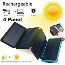 2021 Solar Power Bank 4 Panel Qi Portable Charger100000mAh External Battery Pack