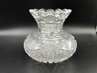 "Vintage ABP American Brilliant Period Cut Crystal Vase, 5 1/4"" Tall, 6"" Widest"