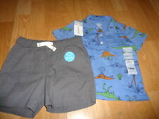 Nwt 18M Carter's outfit dinosaur 3 button top and gray shorts