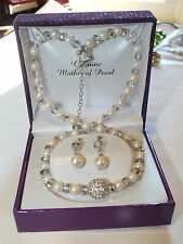 Fabulous Mother of Pearl Silver Plated Demi Parure Set: Necklace/Earrings