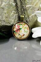 Glass Jewels Bronze Halskette Anhänger Cabochon Vintage Schmetterling Rose #N015
