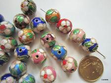 Perlas bola cloisonné 12 mm X 10 UNIDADES en 5 parejas esmalte colores abalorios