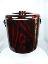 Otagiri Japan Faux Wood Grain Ice Bucket with Insert  Red Black Dark colors