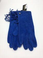 Lauren Ralph Lauren Blue Suede Leather Gloves W/fringe  Size M #519