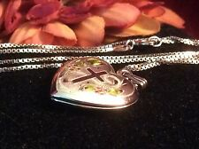 Vintage Cross Enamel Baptism Pic LOCKET Sterling TR 925 Etched & Box Neck Chain