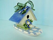 GORGEOUS VINTAGE SIGNED RARE COLLECTABLE PAPER WINDOWS USA BIRD HOUSE ON TRAY