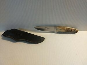 BOKER TREE BRAND ARBOLITO HUNTING KNIFE- STAG HANDLE/ LEATHER SHEATH # 545