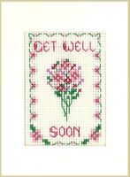 Get Well greeting card  - a complete cross stitch kit on 16 aida