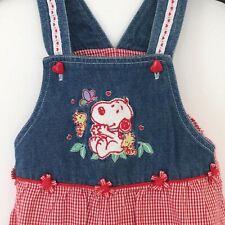 Baby Snoopy Infant Toddler Girls Bib Shortalls Size 18 Months One Piece Romper