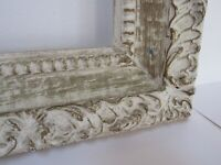 VINTAGE WHITEWASH / HAND CARVED  GILT FRAME FOR PAINTING  16 X 12 INCH  ( d -18)