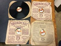 "4x Broadcast Records Label 78 Shellac 1930's Records Various Artists 8"" (9)"