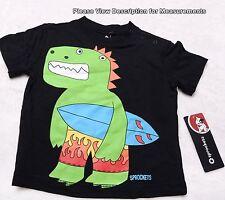 Sprockets 24M Boys Black T Shirt Easy Snap Shoulder New Dinosaur Nwt