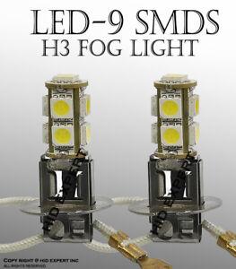 x2 H3 9 SMDs 5050 LED Chips Fit Fog Light Socket DRL Bulbs Lamp Super White R707